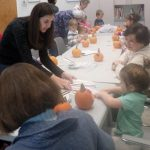 decorating pumpkins with preschoolers