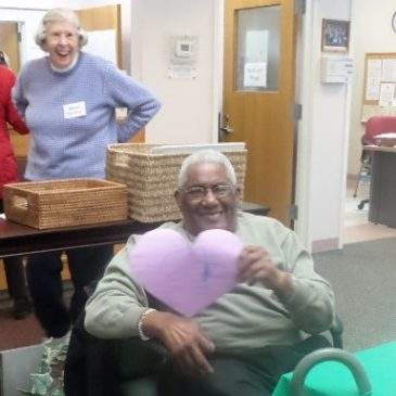 Preschool children celebrate Valentines Day at the Senior Center